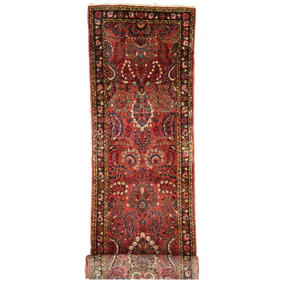 Antique Persian Hamadan Runner, Extra-Long Persian Hallway Runner, Sarouk Style