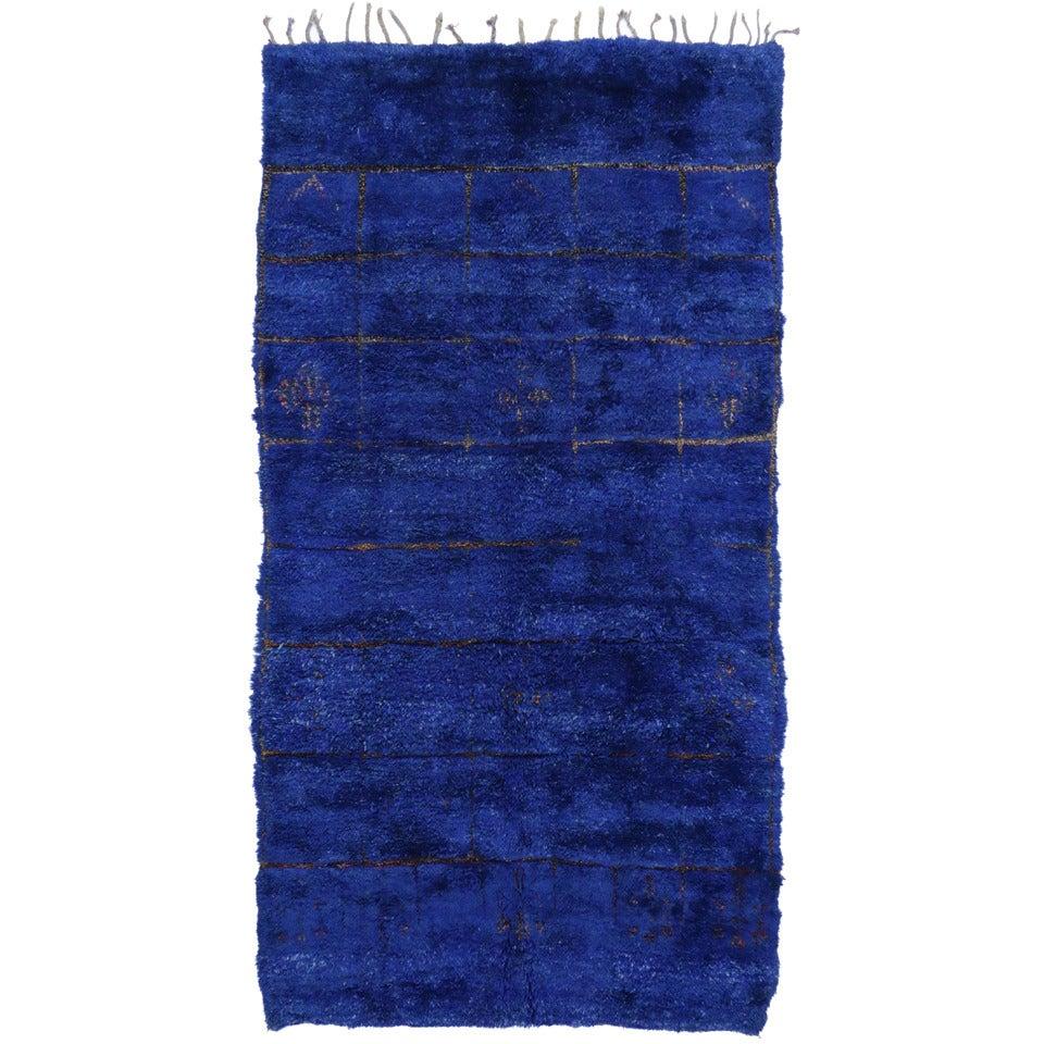Vintage Moroccan Area Rug For Sale At 1stdibs: Vintage Blue Beni Mguild Moroccan Rug At 1stdibs