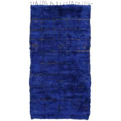 Vintage Blue Beni Mguild Moroccan Rug