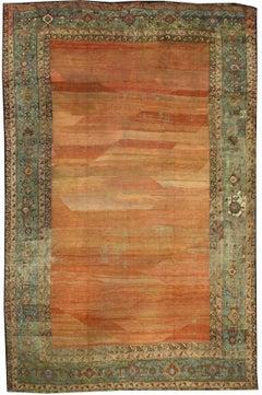 Mid-19th Century Antique Persian Bakshaish Rug with Rustic Mediterranean Style