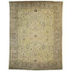 Antique Turkish Oushak with Modern Design in Muted Colors