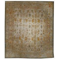 Antique Turkish Oushak Angora Wool Rug