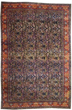 Antique Kurdish Persian Bijar Gallery Rug with Art Nouveau Style