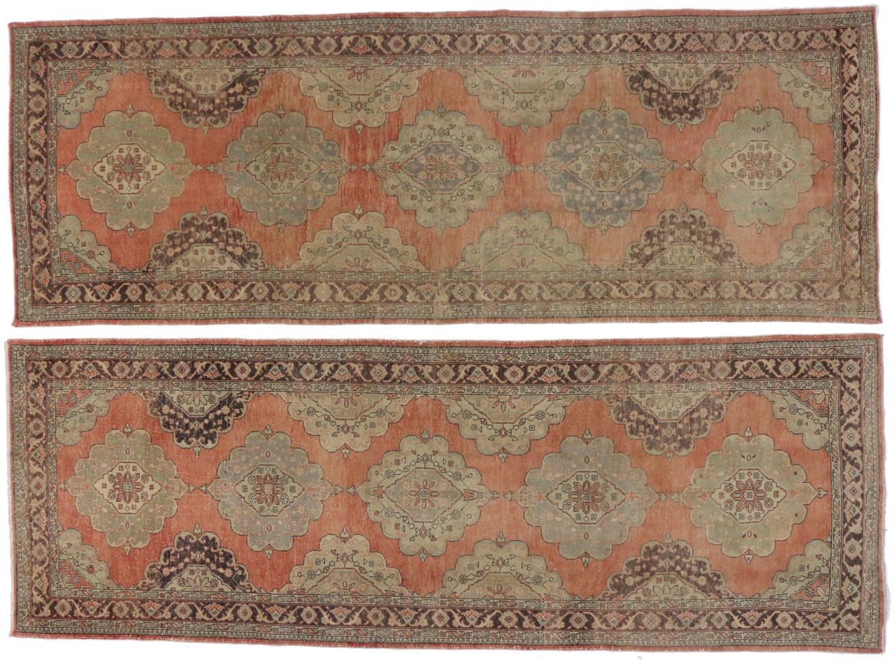 Pair of Vintage Turkish Oushak Gallery Rugs, Matching Wide Hallway Runners For Sale 4