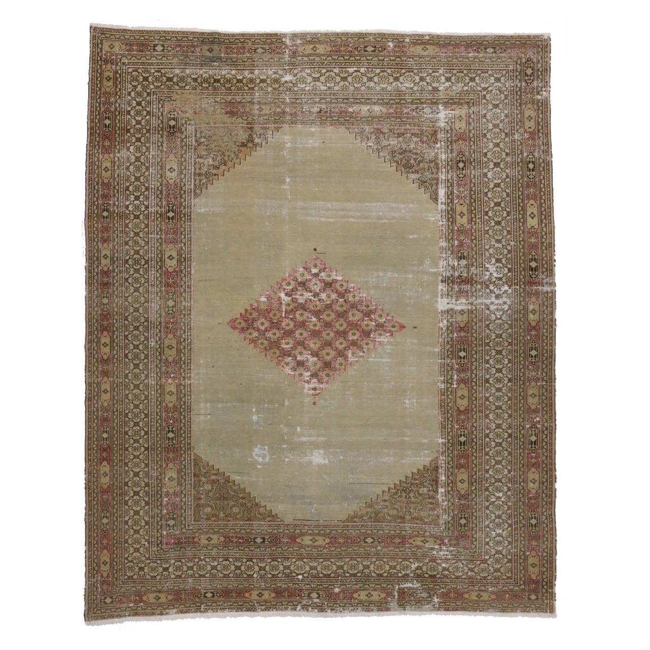 Distressed Antique Persian Khorassan Rug with Modern Industrial Style