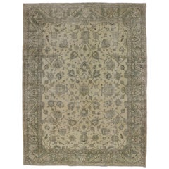 Distressed Turkish Sivas Rug with Shabby Chic Farmhouse or French Country Style