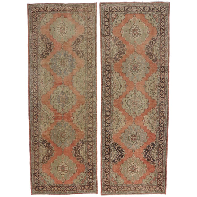 Pair of Vintage Turkish Oushak Gallery Rugs, Matching Wide Hallway Runners For Sale