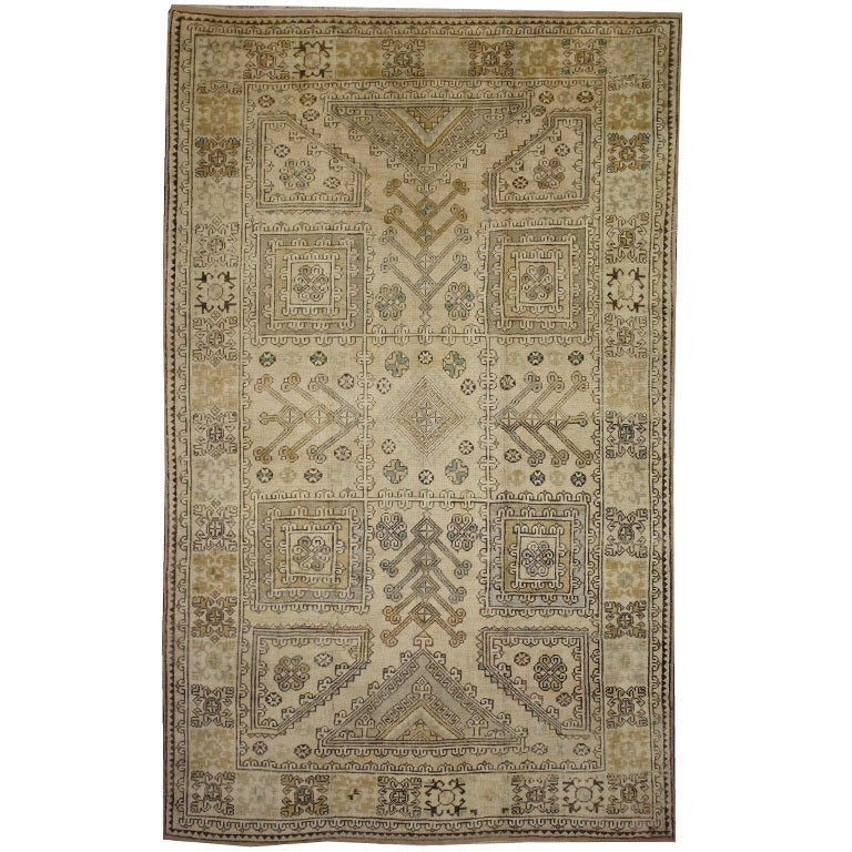Vintage Turkish Oushak Rug with Modern Design in Muted Colors