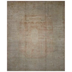 Antique Turkish Oushak Area Rug in Muted Colors with Minimalist Style