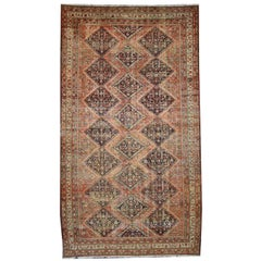 Distressed Antique Persian Malayer Rug with Rustic Artisan Industrial Style