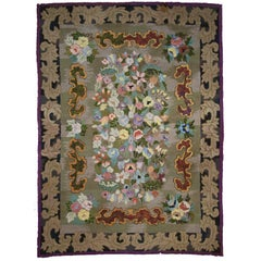 Antique American Hook Rug with Art Nouveau Baroque Style