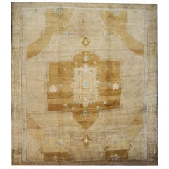 Vintage Turkish Oushak Kars Square Area Rug in Soft Muted Colors