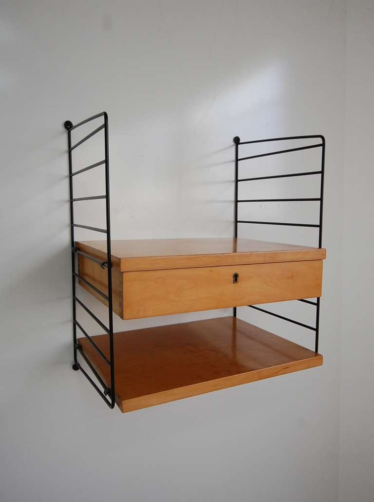 Wall hung nightstands by nils strinning at 1stdibs for Wall hung nightstand