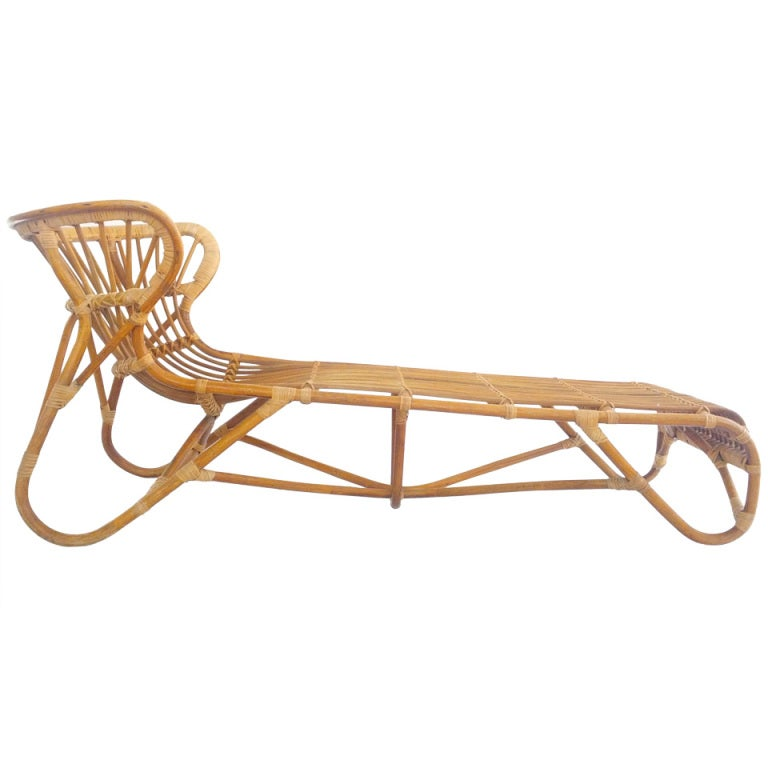 Rare franco albini chaise longue at 1stdibs for Chaise longue rattan