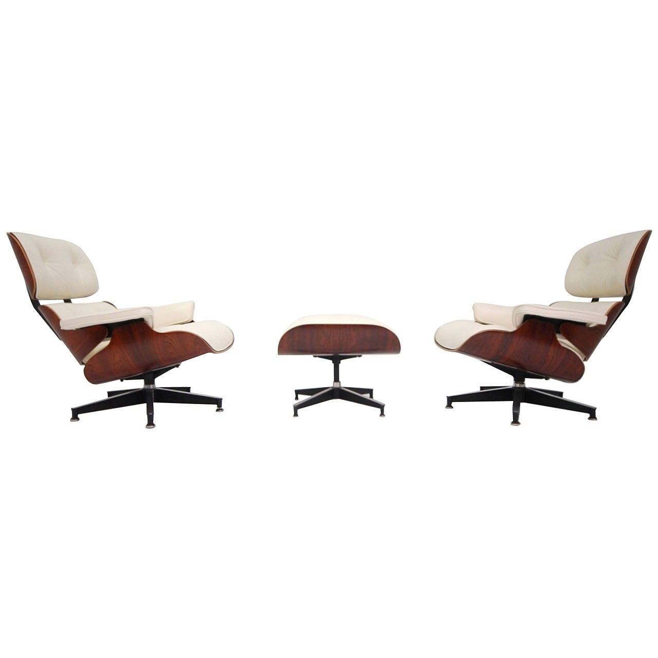 Vintage Rosewood Eames Lounge Chair With New OffWhite Leather - White leather lounge chair
