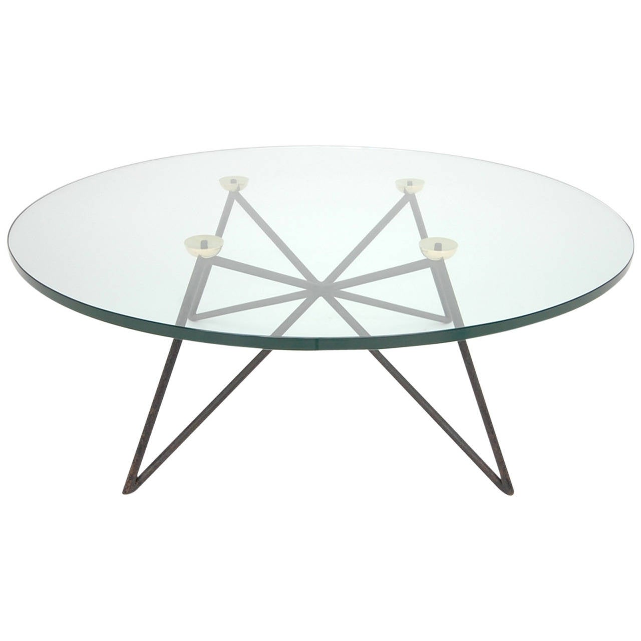 Iron And Brass Glass Top Coffee Table In The Style Of
