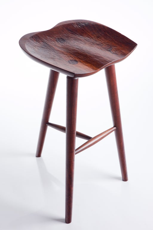 Hand Crafted Stool In Walnut For Sale At 1stdibs