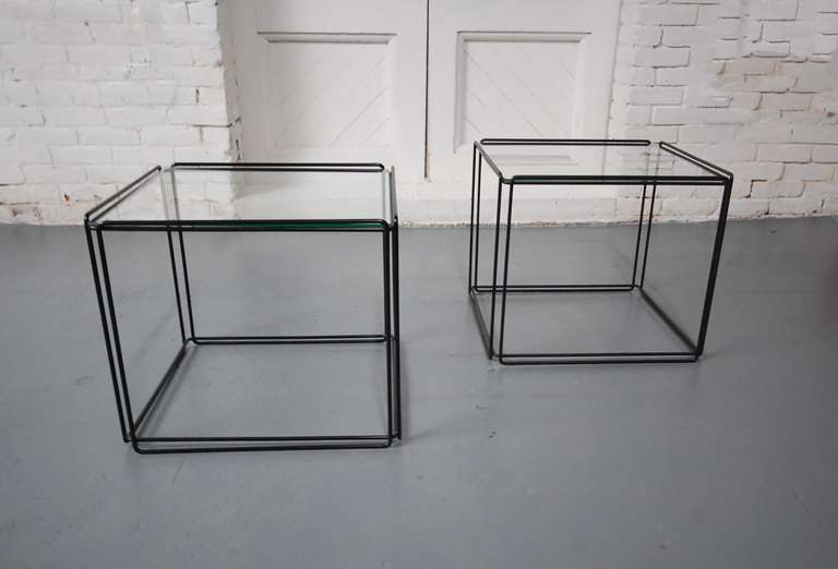 Mid Century Modern Pair Of Minimalist Tables By Max Sauze For Sale