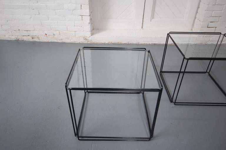 Late 20th Century Pair of 'ISOCELE' Tables by Max Sauze For Sale