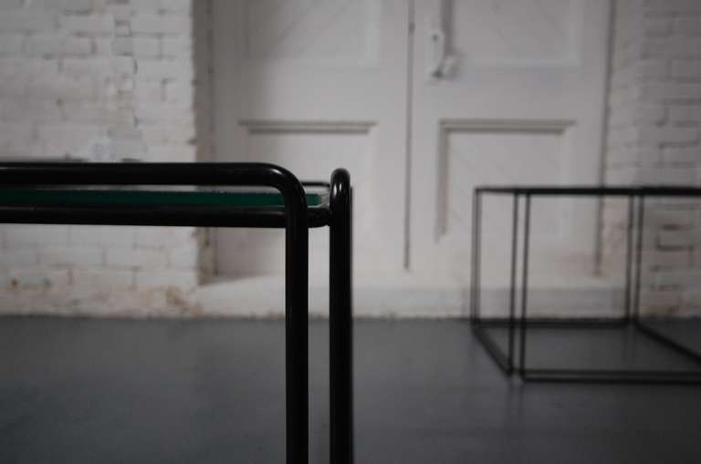 Glass Pair of 'ISOCELE' Tables by Max Sauze For Sale