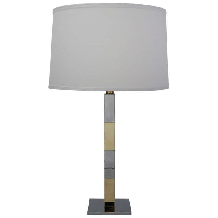 Chrome and Brass Table Lamp by Hansen