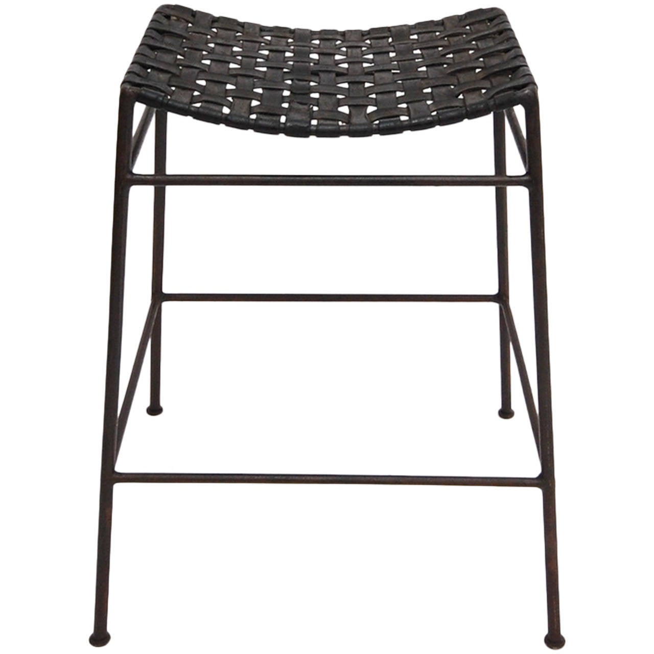 Iron And Leather Stool By Swift And Monell For Sale At 1stdibs