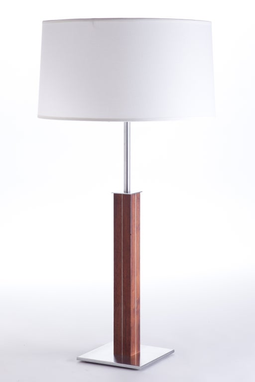 stainless steel and teak table lamps by nessen for sale at. Black Bedroom Furniture Sets. Home Design Ideas