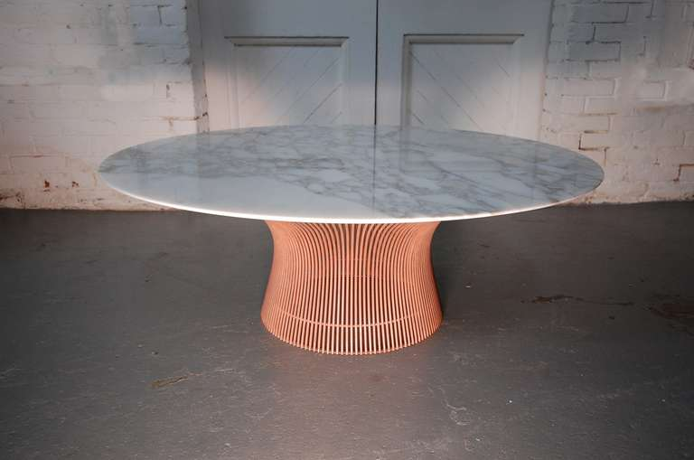 rare warren platner solid copper with calcutta marble top coffee table at 1stdibs. Black Bedroom Furniture Sets. Home Design Ideas