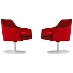 Perfect Pair of Jens Risom Swivel Chairs