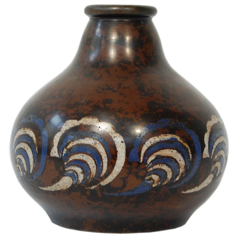 A beautiful bronzeCloisonné vase with mottled finish by Atelier Primavera. Signed PRIMAVERA