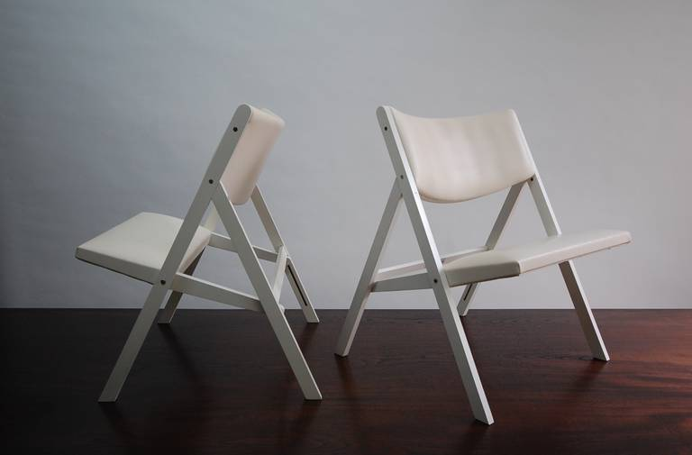 Brass Pair of Gabriella Folding Chairs by Gio Ponti For Sale