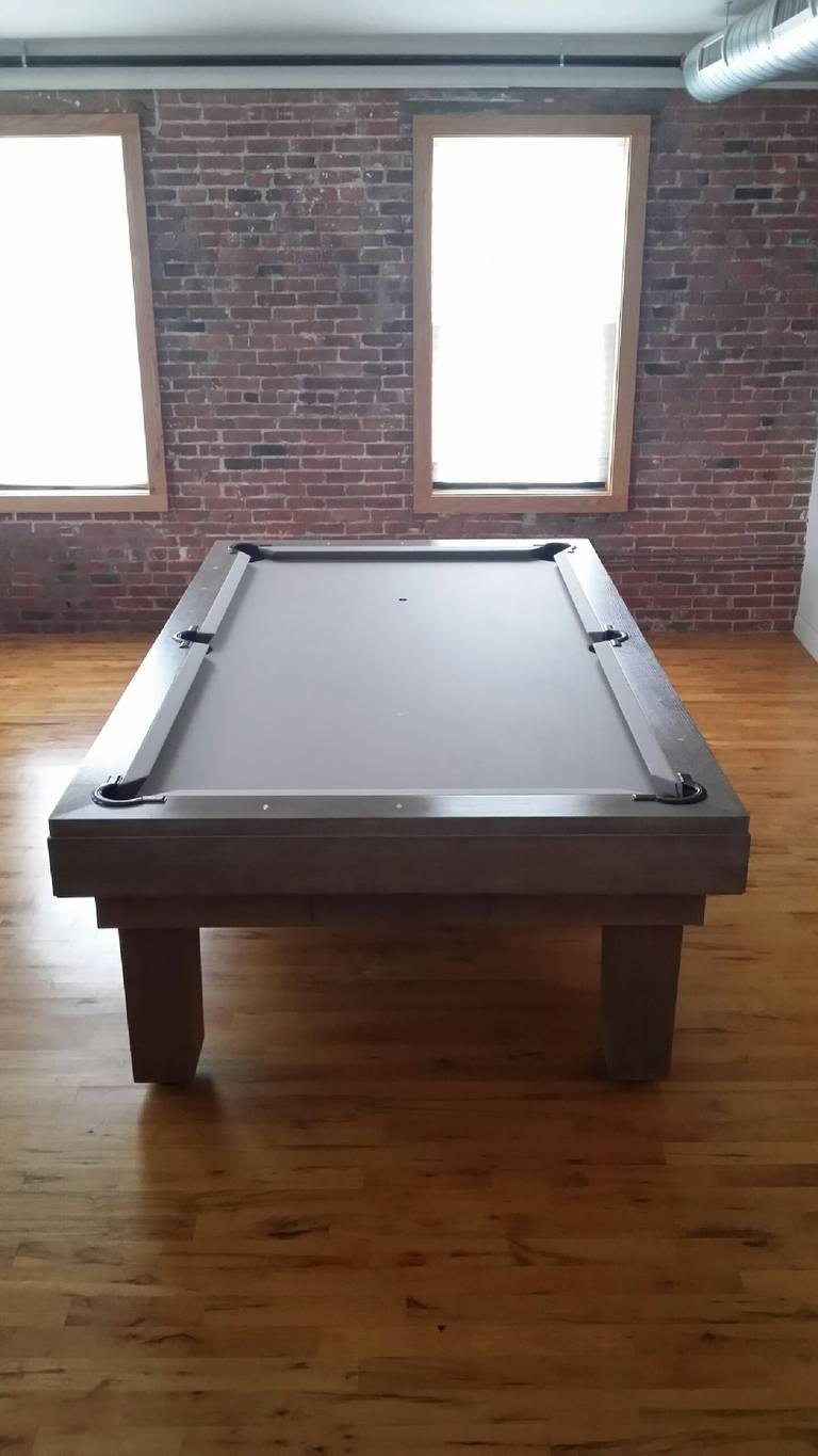 """Custom, one of a kind pool table designed by Thomas O'Brien, founder of Aero Studios. The design for this table was inspired by one of the masters of modern minimalism, Jean-Michel Frank. The finish is """"cerused oak"""" stain and wax finish."""