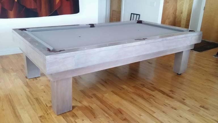 Felt Custom Pool Table Designed by Thomas O'Brien of Aero Studios For Sale