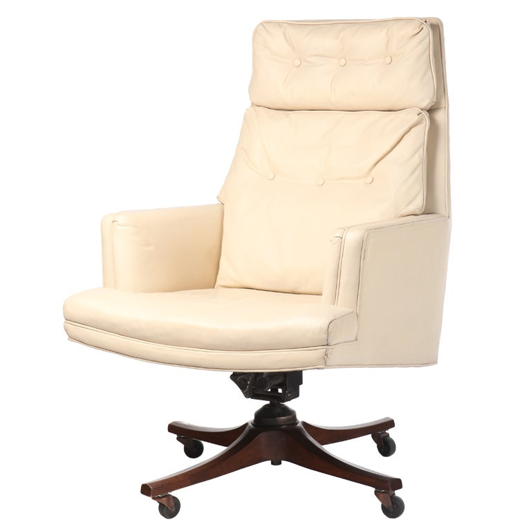 executive desk chair in white leather by dunbar at 1stdibs