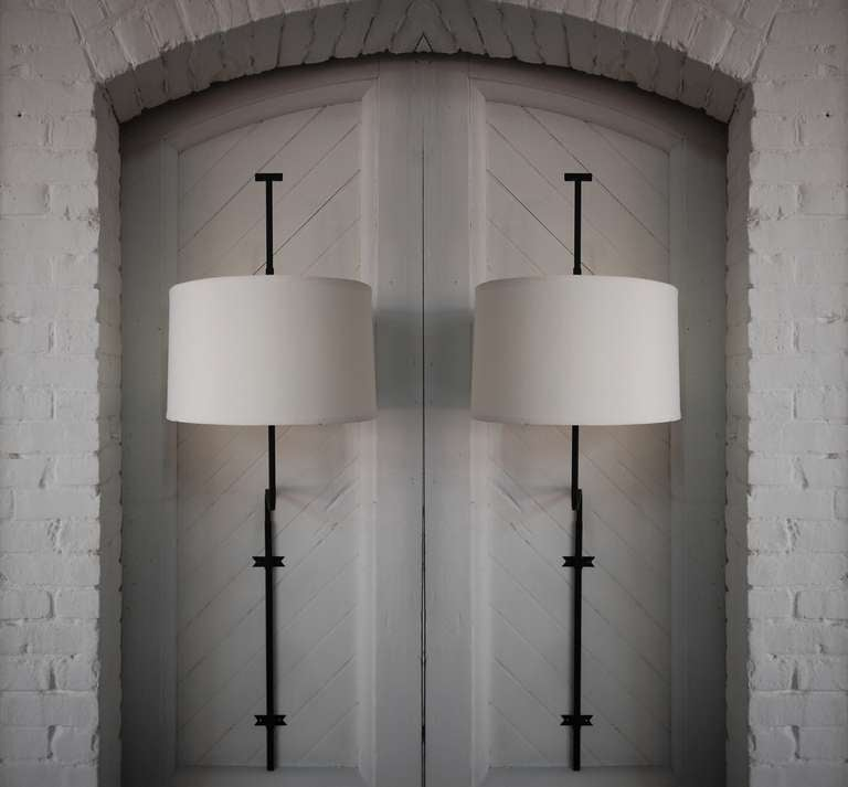Early Pair Of Large Scale Wall Sconces In Wrought Iron, Designed By Tommi  Parzinger,