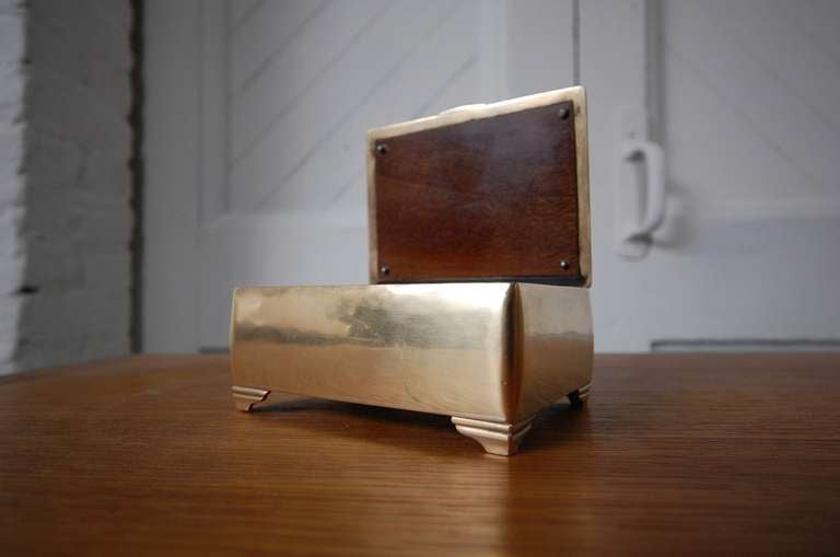 Art Deco Mahogany lined Brass Box by Just Andersen For Sale