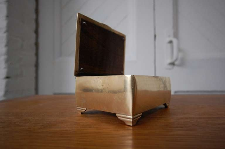 Danish Mahogany lined Brass Box by Just Andersen For Sale