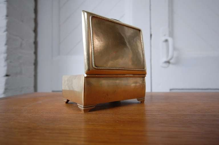 Mahogany lined Brass Box by Just Andersen In Good Condition For Sale In Providence, RI
