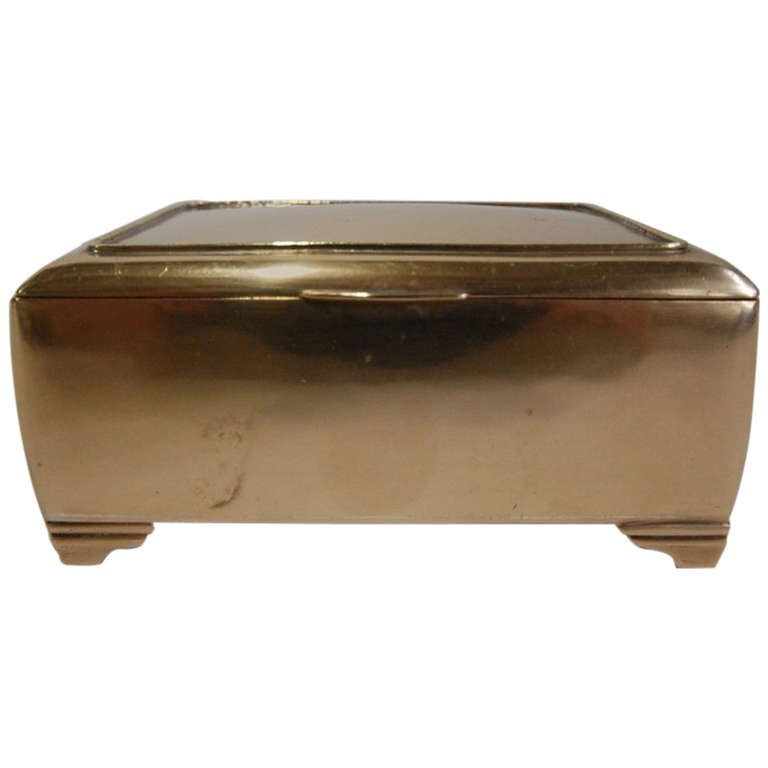 Mahogany lined Brass Box by Just Andersen