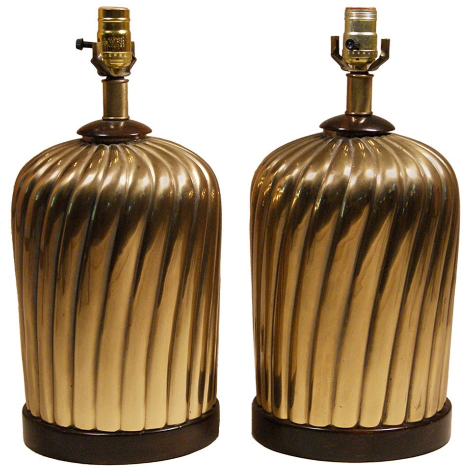 Pair of Brass Lamps at 1stdibs