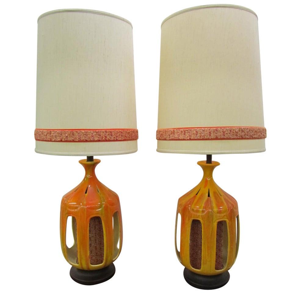 Huge Pair Of Orange Drip Glaze Lamps Mid-century Modern Danish