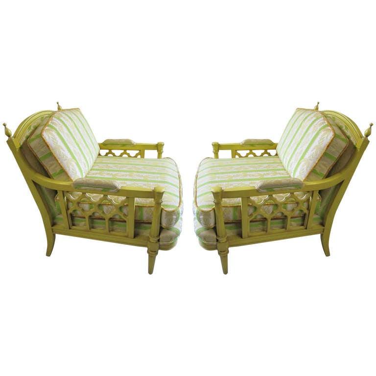 Lovely Pair Oversized Regency Modern Lounge Chairs