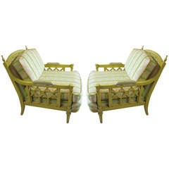 Lovely Pair Of Oversized Regency Modern Lounge Chairs Hollywood Glam