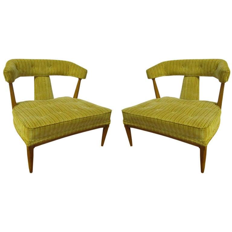 Fabulous Pair of Robsjohn Gibbing Style Slipper Lounge Chairs Mid-century Modern