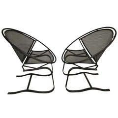 Pair of Vintage Salterini 'Radar' Spring Base Lounge Chairs Mid-century Modern