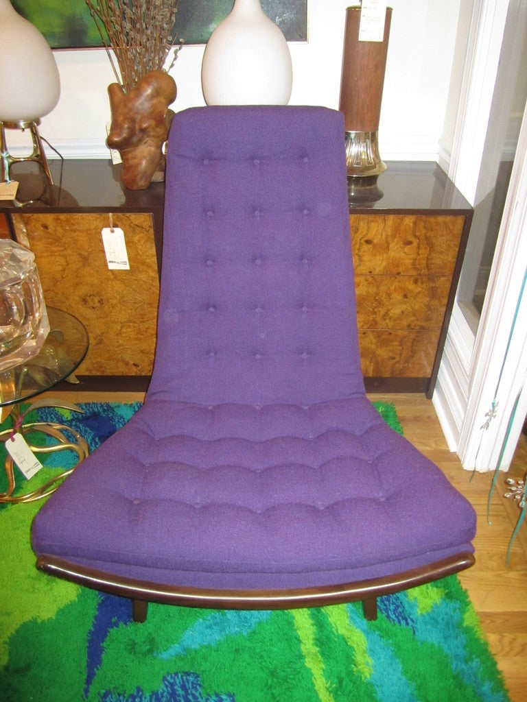 FABULOUS ADRIAN PEARSALL HIGH BACK  SCOOP CHAIR MID-CENTURY DANISH MODERN.  THE FABRIC AND ALL THE FOAM AND STRAPS ARE BRAND NEW AND LOOK AMAZING.  THE UPHOSTERY IS A MAHARAM HOPSAK FABRIC IN A GORGEOUS PURPLE.  THIS CHAIR IS ONE OF MY ABSOLUTE