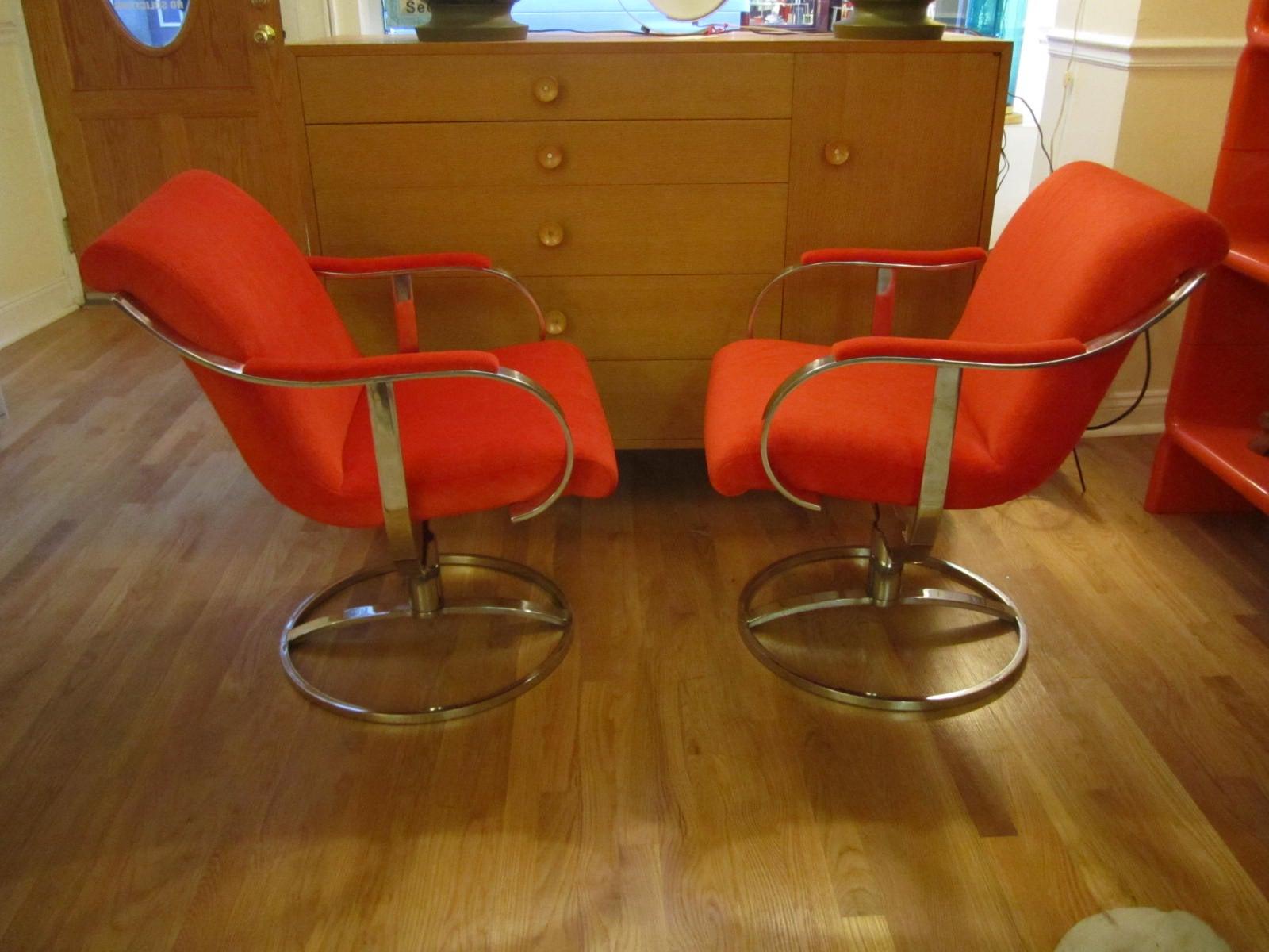 Chrome Steelcase Swivel Lounge Chairs Mid-Century Orange Mohair