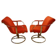 Chrome Steelcase Swivel Lounge Chairs Mid-Century Orange Mohair