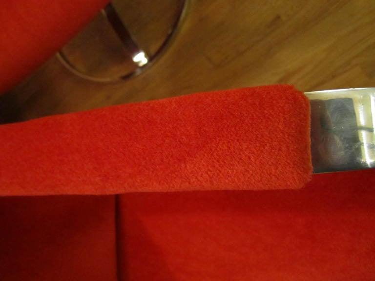 Chromed Steel Swivel Lounge Chairs Mid Century Platner