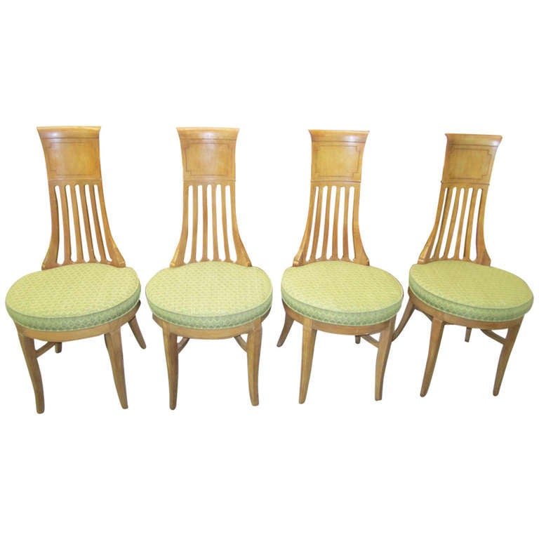 4 American Modern Tomlinson Sophisticate Tall Back Dining Chairs Mid Century For